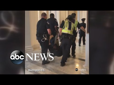 Protesters dragged away from Sen. McConnell