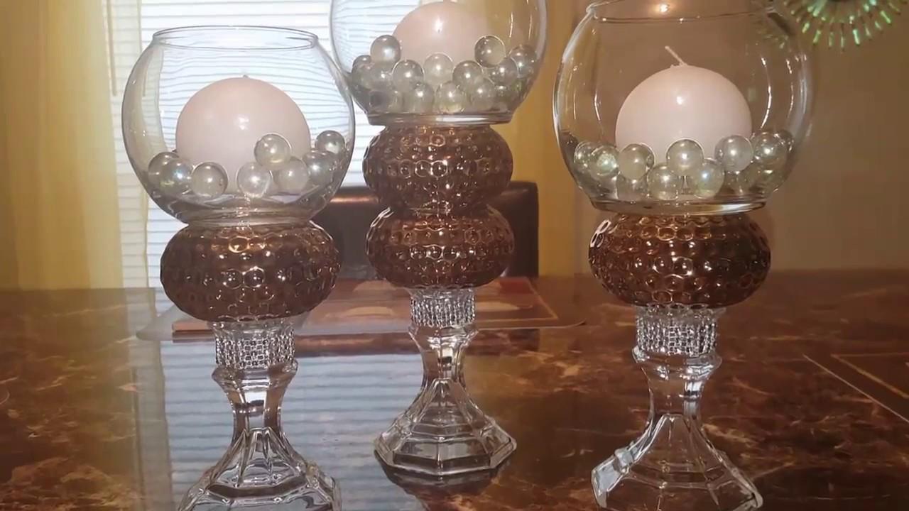 DIY Bling Candleholders/DIY Dollar Tree Decor - YouTube