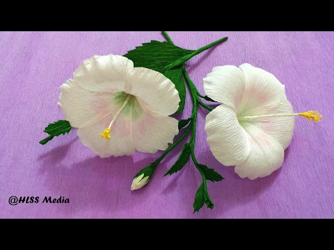 How To Make white Hibiscus Paper Flower origami step by step/ DIY crepe paper flower tutorials