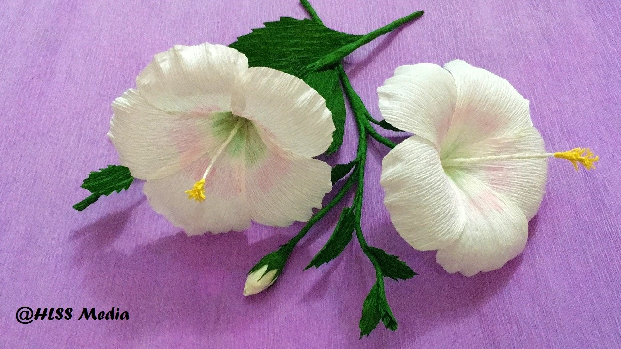 How to make white hibiscus paper flower origami step by step diy how to make white hibiscus paper flower origami step by step diy crepe paper flower tutorials izmirmasajfo