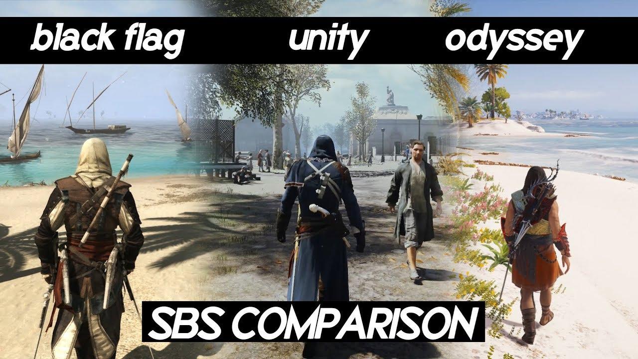 SBS Comparison of AC games (BLACK FLAG vs UNITY vs ODYSSEY)