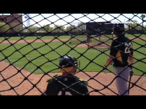 #Athletics RHP Sonny Gray, RF Josh Reddick match up in batting practice at Fitcj Park.