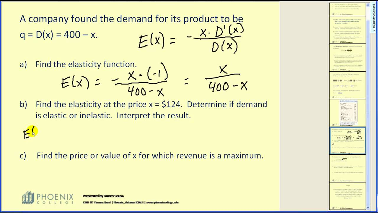 Video Elasticity Of Demand Business Calculus