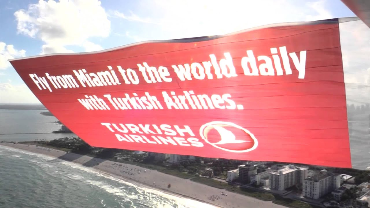 turkish airlines aerial banner advertising  miami fl  youtube