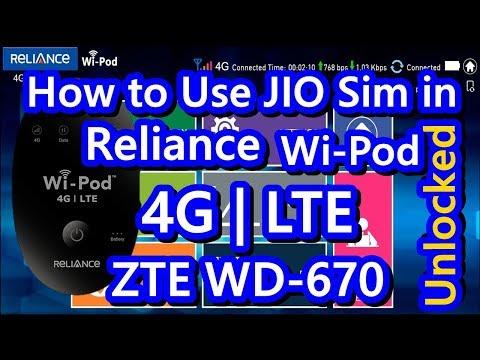UNLOCKED RELIANCE | AIRTEL WIPOD 4G LTE ZTE WD-670