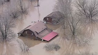 Aerial view of the damage caused by the storms in parts of US midwest thumbnail