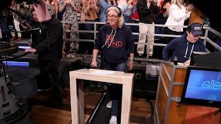 Ellen Surprises Executive Producer with a Treadmill Challenge
