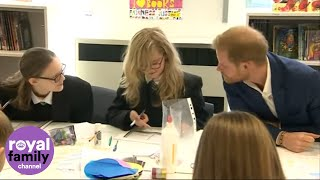 Prince Harry Shares a Joke with Shy Student at Nottingham Academy