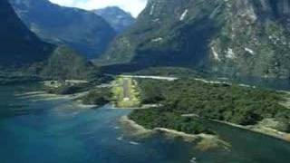 Flying into Milford Sound, New Zealand