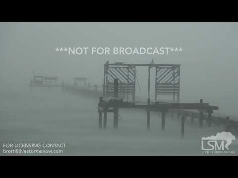 8 25 17 Fulton, TX Hurricane Harvey 4PM CDT Update Lines Down High Surf Signs Down