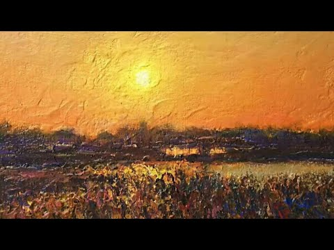 -Acrylic Landscape Painting Demonstration|How to Draw| For Beginners|Relaxing【1】Sunset