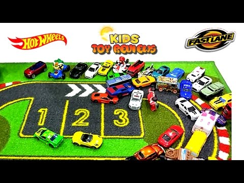 Kids Toy Cars! Hot Wheels! Fast Lane! McD Toy Cars! IKEA Racing Track Playmat! with Kids Toy Reviews