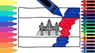 How to Draw Cambodia Flag - Drawing the Cambodian Flag - Art Colors for Kids | Tanimated Toys