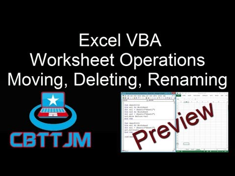 Comprehensive VBA Part 10 - Excel VBA : Worksheets - Copy, Move ...