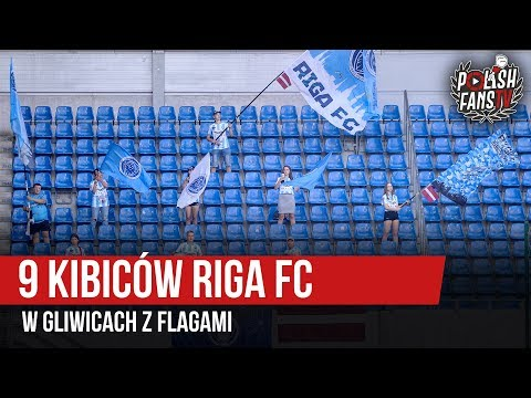 9 Kibiców Riga FC W Gliwicach Z Flagami (25.07.2019 R.)