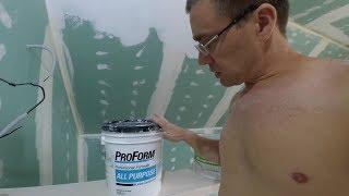 Обзор в работе готовой финишной шпаклевки Проформ (ProForm). Шпаклюем потолок.