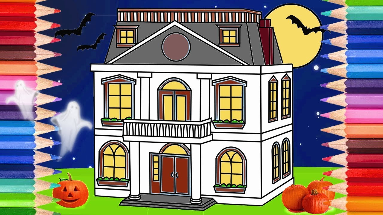 how to draw a haunted house halloween coloring pages for kids