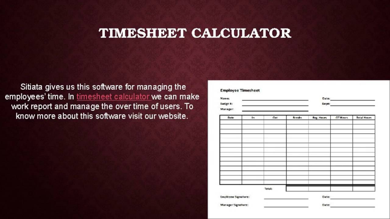 calculator for timesheet