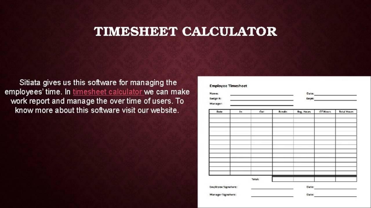 Timesheet calculator YouTube – Employee Timesheet Calculator