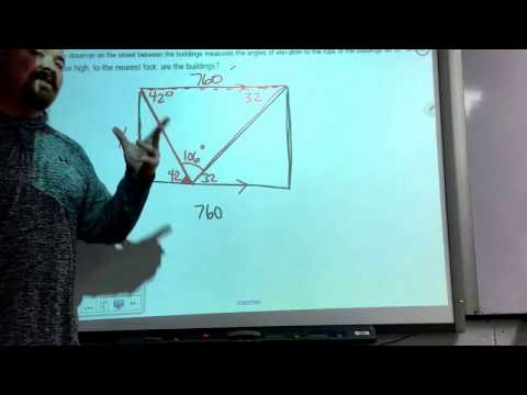 The two buildings problem (Law of Sines)