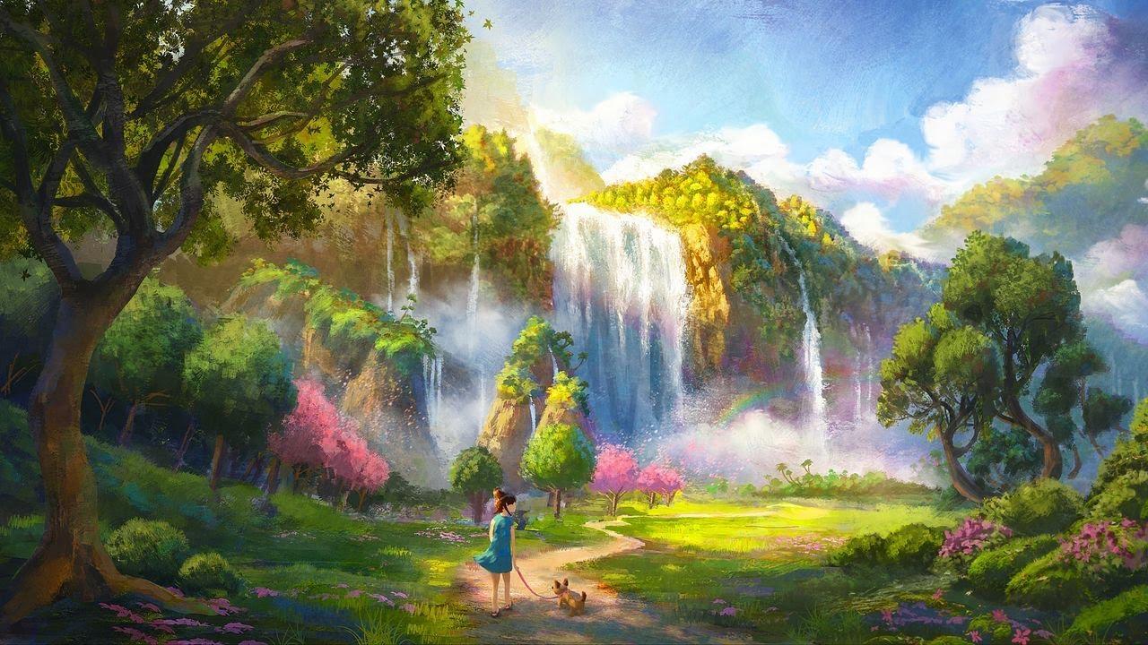 Звуки Лесного водопада  Музыка релакс  Музыка для сна Белый шум HD 1080P