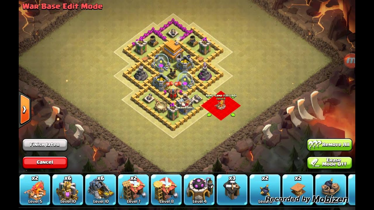 Clash of clans best th6 hybrid base air sweeper youtube