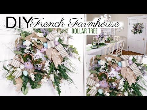 🍃DIY FRENCH FARMHOUSE WREATH DOLLAR TREE SPRING EASTER DECOR CRAFT 🍃 OLIVIAS ROMANTIC HOME  2019