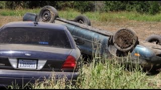 Police Chased Ends With Crash - Car Flips Over - Modesto News