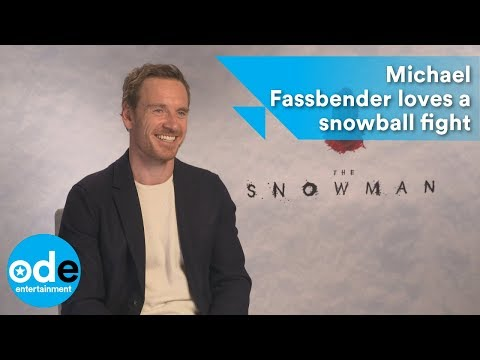 Michael Fassbender loves a snowball fight