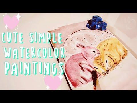 Cute Simple Watercolor Paintings Series 1 Easy Bunnies For Beginners Youtube