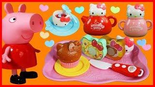 粉紅豬小妹佩佩豬與凱蒂貓  Hello Kitty 的下午茶玩具