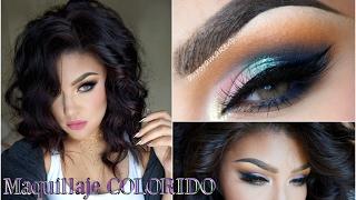 Maquillaje ROSA AZUL colorido/ Sweet look  Makeup tutorial| auroramakeup