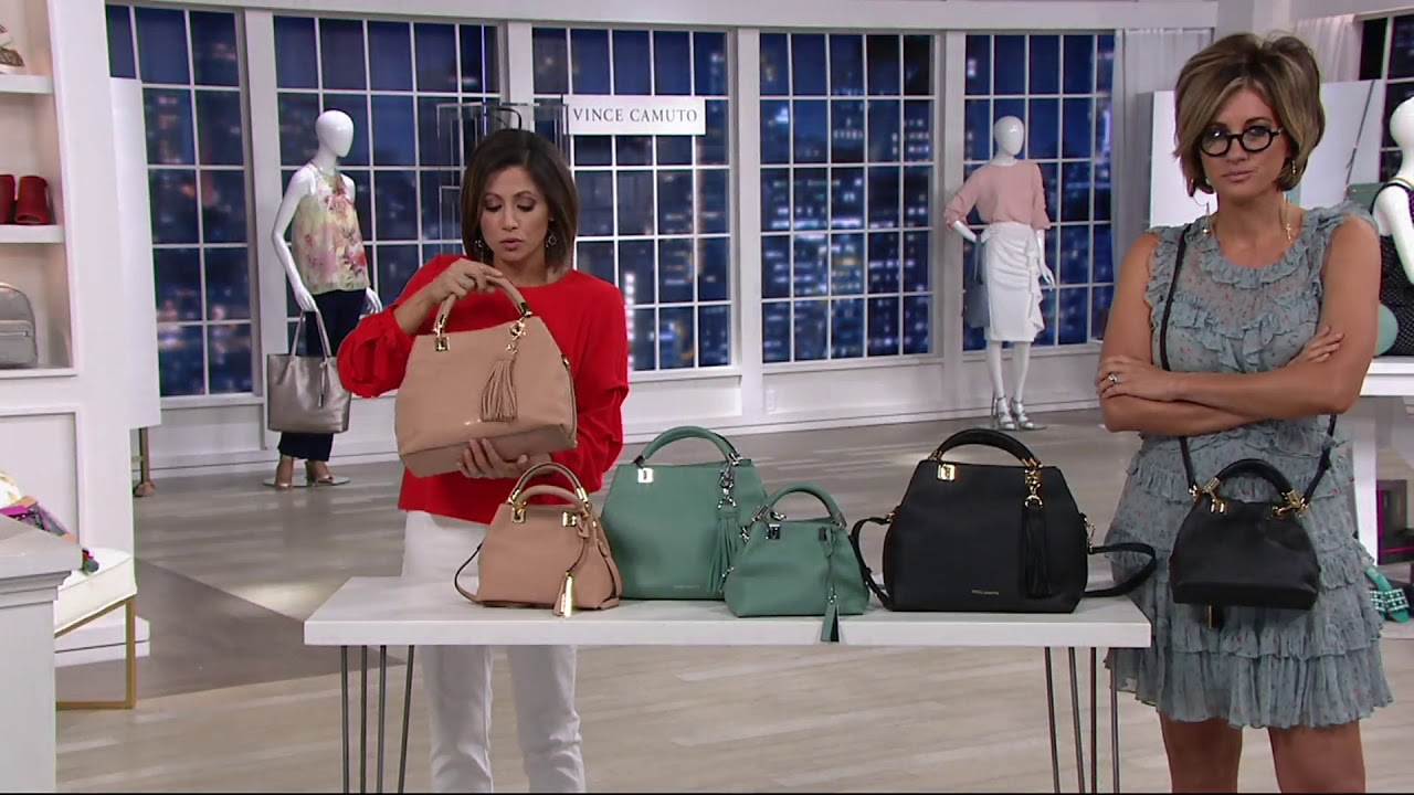 ac7b046e4 Vince Camuto Small or Large Leather Satchel - Elva on QVC - YouTube