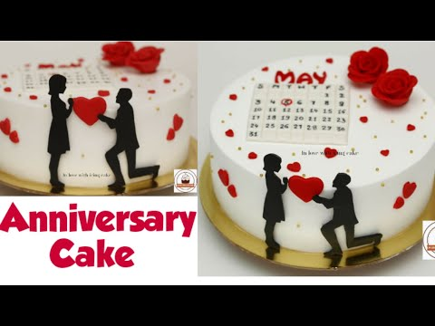 Wedding Anniversary Cake Decorating Idea Fondant Roses Without Cutter Bride Groom Silhouette Youtube