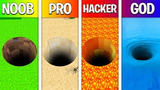 NOOB vs PRO vs HACKER vs GOD: TUNEL GIGANTE NO MINECRAFT