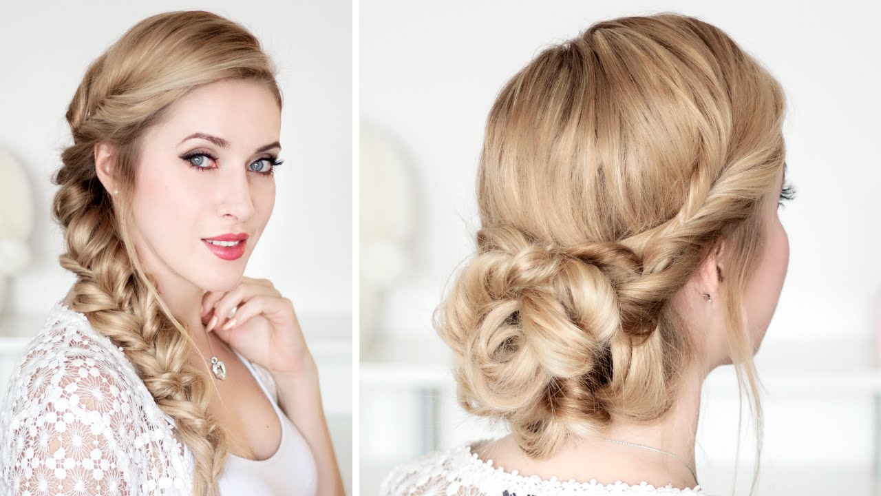 braided updo hairstyles for christmas holidays new year party frisuren f r lange haare youtube. Black Bedroom Furniture Sets. Home Design Ideas