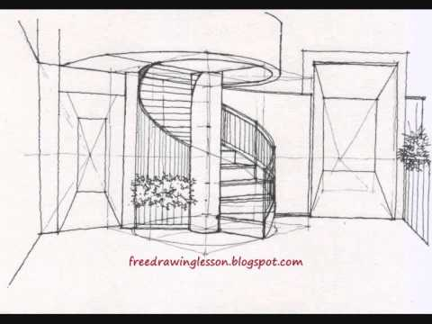 How To Draw A Spiral Staircase By Miandza Youtube
