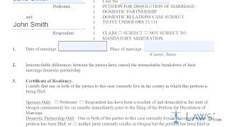 Oregon Petition For Dissolution Of Marriage Domestic Partnership 1C