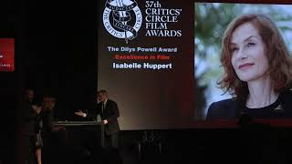 Isabelle Huppert receives the Dilys Powell Award for Excellence in Film (2017 Film Awards)