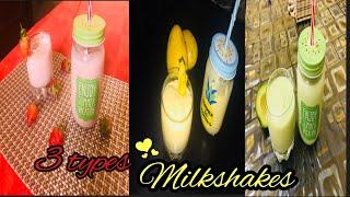 3 Types of Milkshakes || Strawberry Milkshake || Mango Banana Milkshake || Avacado Milkshakes ||Easy