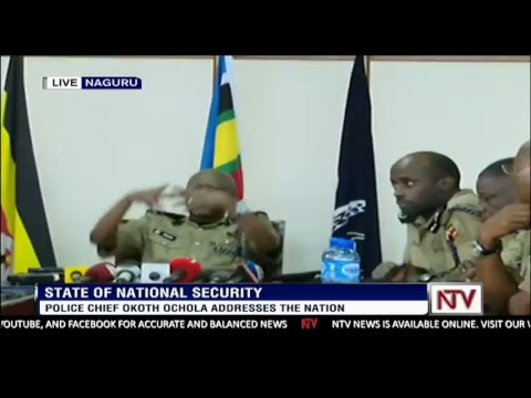 Uganda Police Chief Okoth Ochola addressing the nation on the security situation