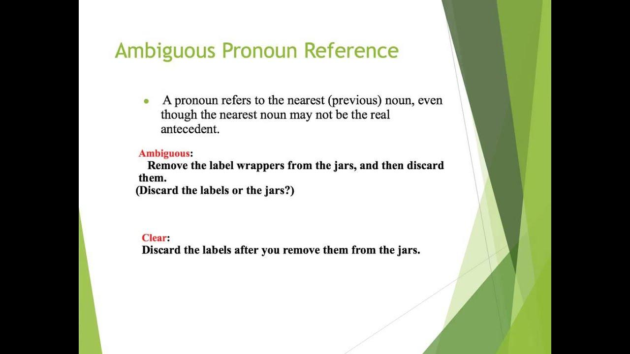 Vague And Ambiguous Pronoun Reference