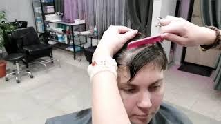 Короткая женская стрижка с очень короткой косой челкой Часть 2