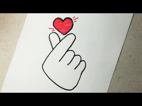 How To Draw The Korean Heart Sign تعليم الرسم رسم قلب الحركة