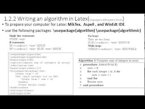1.2.2 Writing an algorithm in Latex