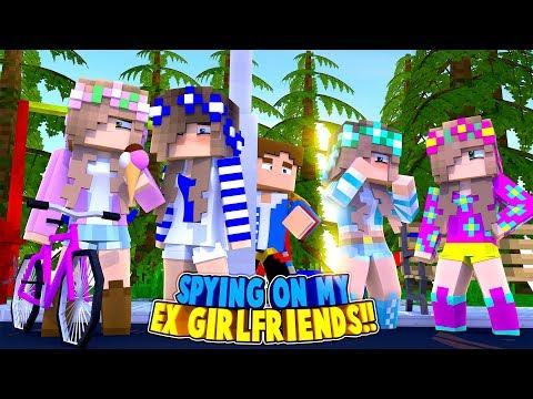 Minecraft LITTLE DONNY IS SPYING ON HIS EX GIRLFRIENDS - LITTLE KELLY, ASHLEY & SOPHIA!!