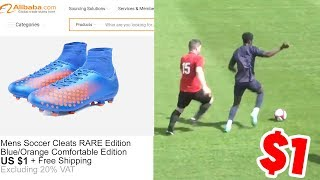Wearing 1 football boots in a real game - skills like cristiano ronaldo!!!