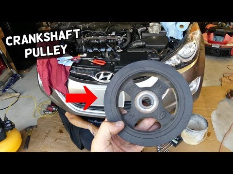 HOW TO REMOVE REPLACE CRANKSHAFT PULLEY HYUNDAI ELANTRA