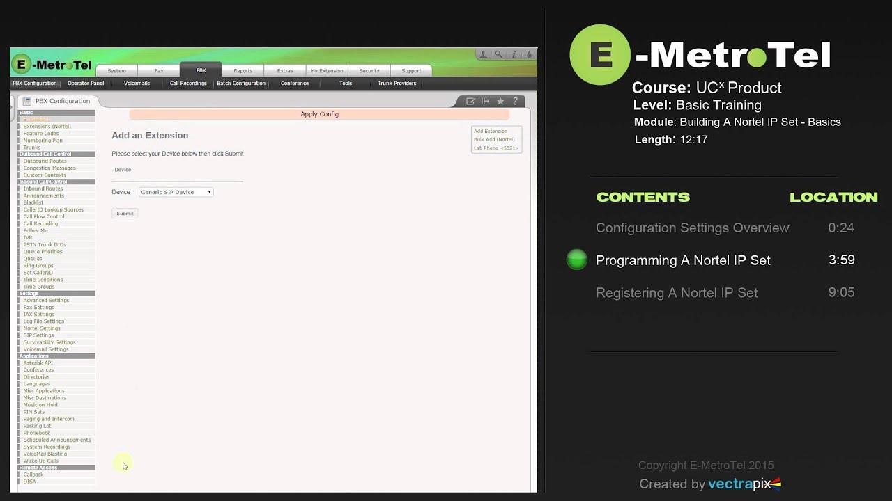 Adding a Nortel IP Set - Video tutorial | Documentation