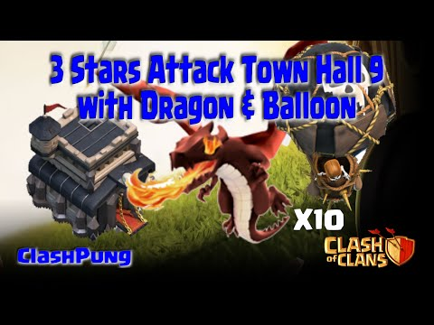 3 Stars Attack Strategy TH9 with Dragons Clash of Clans